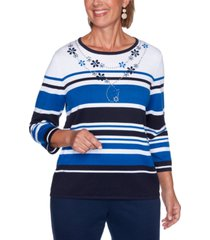 alfred dunner petite vacation mode embellished striped sweater
