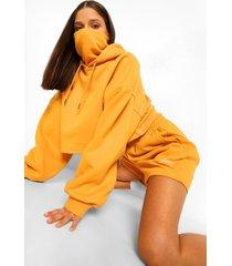 oversized hoodie met tekst en skimasker, mustard