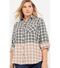 maurices plus size womens cabin plaid black ombre button down shirt