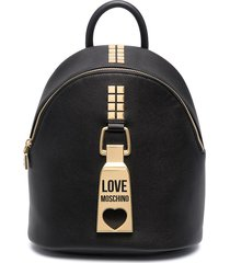 love moschino engraved logo hardware detail backpack - black