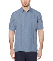 cubavera men's big & tall pintuck embroidered chambray shirt