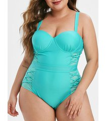 mesh panel push up plus size one-piece swimsuit