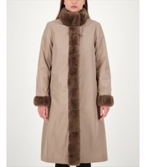 jones new york reversible faux-fur coat