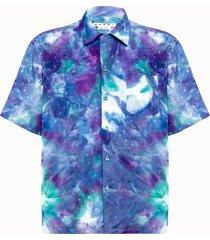 marni camicia in viscosa tie dye motivo logo