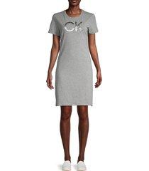 calvin klein women's metallic logo t-shirt dress - heather tin - size m