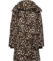 day new justine printed gevoerde lange jas bruin day birger et mikkelsen