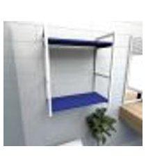 prateleira industrial para banheiro aço branco prateleiras 30cm azul escuro modelo indb10azb