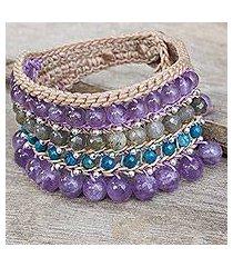 amethyst and labradorite wristband bracelet, 'sukhothai chic' (thailand)