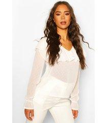 dobby mesh chiffon frill blouse, white
