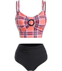 plaid o ring tummy control tankini swimwear