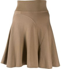 alaïa pre-owned short godet skirt - brown
