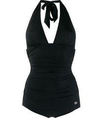 dolce & gabbana halter neck swimsuit - black