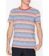selected homme slhkasper stripe ss o-neck tee w ca t-shirts & linnen blå