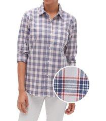 blusa cuadros azul gap