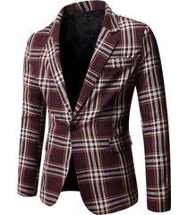 plaid print single button blazer