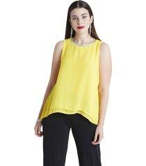 blusas tela encaje con lentejuelas amarillo lorenzo di pontti