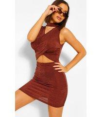 getextuurde strakke mini jurk met gekruiste top, chocolate
