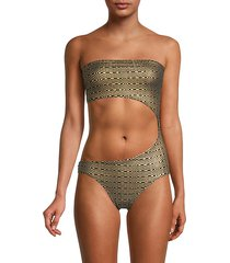 bandeau cutout metallic one-piece swimsuit
