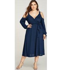 yoins plus talla azul marino cinturón diseño abrigo con hombros descubiertos vestido