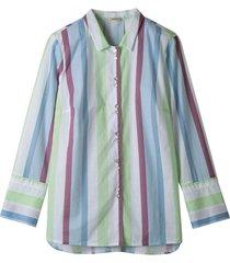 hemdblouse met pastelkleurige blokstrepen, wit gestreept 42