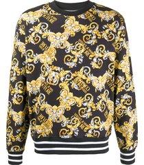 versace jeans couture baroque logo print sweatshirt - black