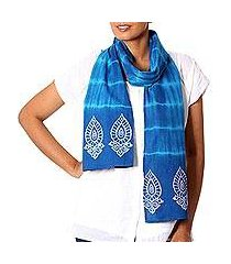 cotton batik scarf, 'teal allure' (india)