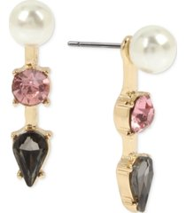 betsey johnson gold-tone crystal & imitation pearl front-and-back earrings
