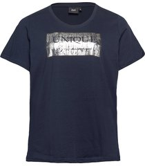 t-shirt round neck plus short sleeves print t-shirts & tops short-sleeved blå zizzi