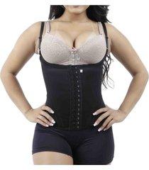 cinta modeladora colete 12 barbatanas corselet redutora ks casual&sport - preto - feminino - dafiti