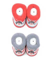for bare feet infant ohio state buckeyes striped baby booties, 2-pk.