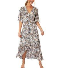 minkpink ava floral-print midi dress