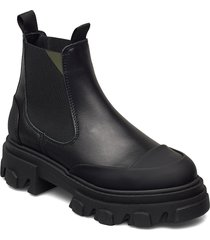 calf leather shoes chelsea boots svart ganni
