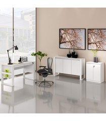 conjunto de escritório com mesa, balcáo e armário baixo 04 branco dallas - tricae