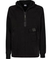 c.p. company black diagonal raised cotton fleece hoodie