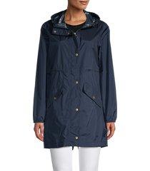 barbour women's waterproof hooded parka - navy - size 10