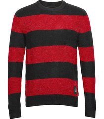 bold stripe cotton cn gebreide trui met ronde kraag rood calvin klein jeans