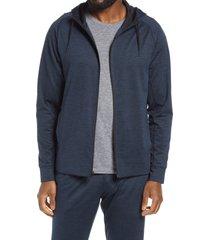 zella pyrite zip hoodie, size small in navy halite melange at nordstrom