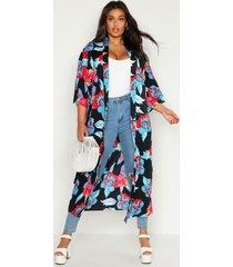 plus floral print belted kimono, black