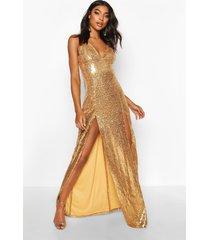tall maxi jurk met laag decolleté met pailletten, gold