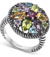 effy multi-gemstone flower statement ring (3-1/2 ct. t.w.) in sterling silver