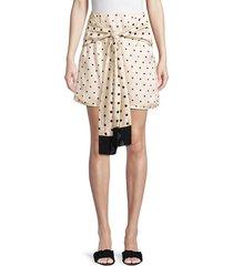 mother of pearl women's polka-dot scarf wrap skirt - ivory polka dot - size 8 uk (4 us)