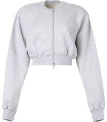 cropped zip-up sweatshirt jacket light heather grey