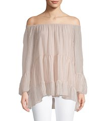 striped off-the-shoulder silk top