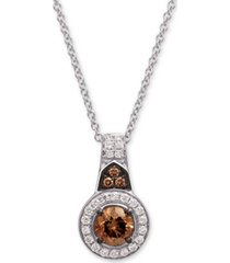 "le vian chocolatier diamond halo 18"" pendant necklace (5/8 ct. t.w.) in 14k white gold"