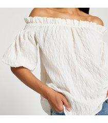 river island womens cream short sleeve textured bardot top