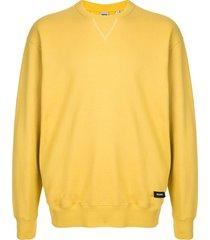 aspesi fleece logo=patch sweatshirt - yellow