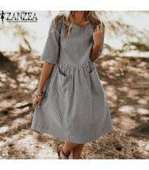 zanzea vestido casual de fiesta de playa con estampado de flamencos y acampanada para mujer -negro