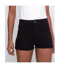 short em sarja cintura alta | blue steel | preto | 44