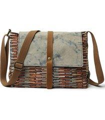borsa a tracolla con stampa a tracolla vintage in vera pelle di tela vintage da uomo e da donna