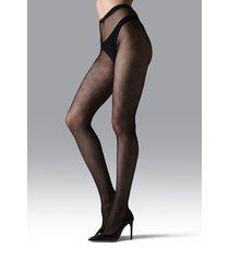 natori diamond geo net tights, women's, black, size l natori